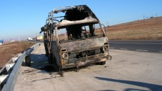 Microbuzul a fost distrus în totalitate în incendiu