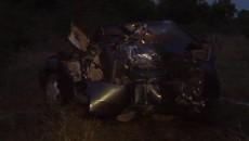 Maşina s-a făcut zob după impactul cu pomul