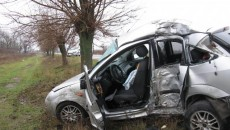 Şoferiţa a avut norocul ca maşina să se lovească de pom cu portiera stânga-spate, nu cu cea din faţă