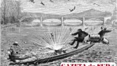 Reprezentare a exploziei motorului cu reacţie al lui Alexandru Ciurcu şi Just Buisson la 16 decembrie 1886, după revista La Nature