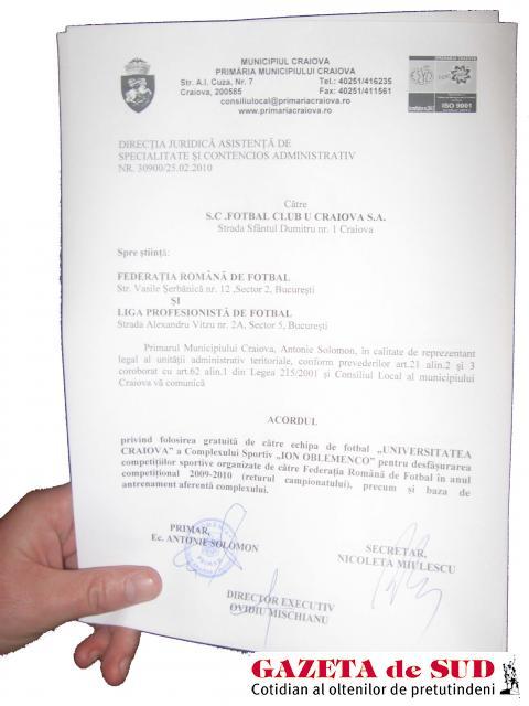"""Cu toate că Primăria Craiovei a oferit gratuit Ştiinţei folosirea stadionului """"Ion Oblemenco"""", finanţatorul a decis să plece la Severin"""