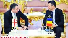 Prima întâlnire a deputatului Ionuţ Stroe (dreapta) cu ambasadorul Georgiei în România, Giorgadze Ilia, în calitatea sa de şef al delegaţiei Parlamentului României la ACPE