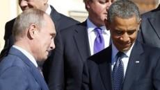 Vladimir Putin (stânga), în timpul unei întrevederi cu Obama (Foto: minnpost.com)