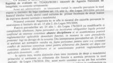 Adresa trimisă Prefecturii Dolj de către secretarul Primăriei Argetoaia în care acesta explică de ce nu poate să-şi dea acordul pentru ca primarul, totodată, şeful său, să-şi piardă mandatul.
