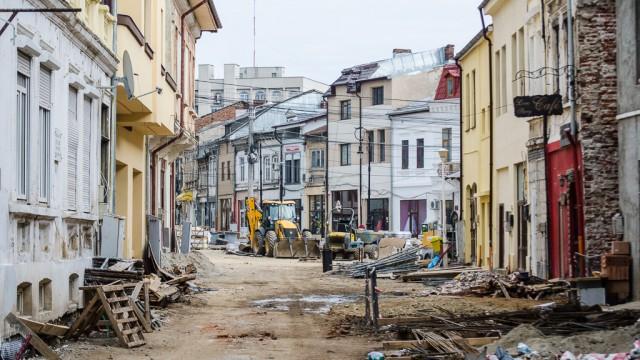 Lucrări pe strada Romain Rolland