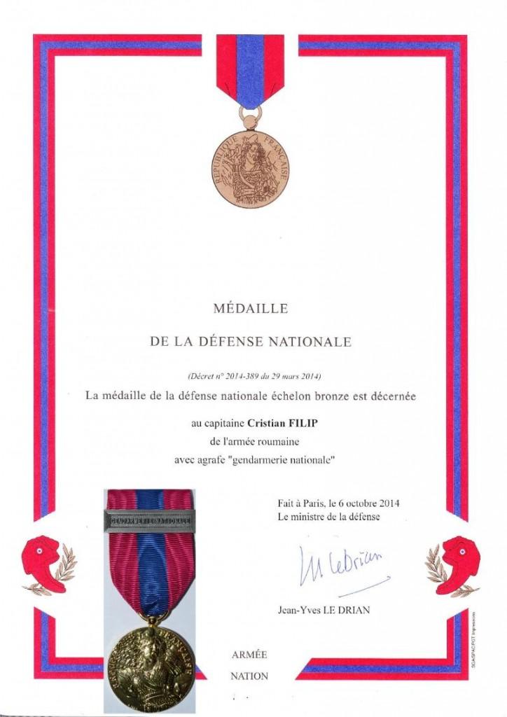 Certificat medalie Mr. Filip Cristian