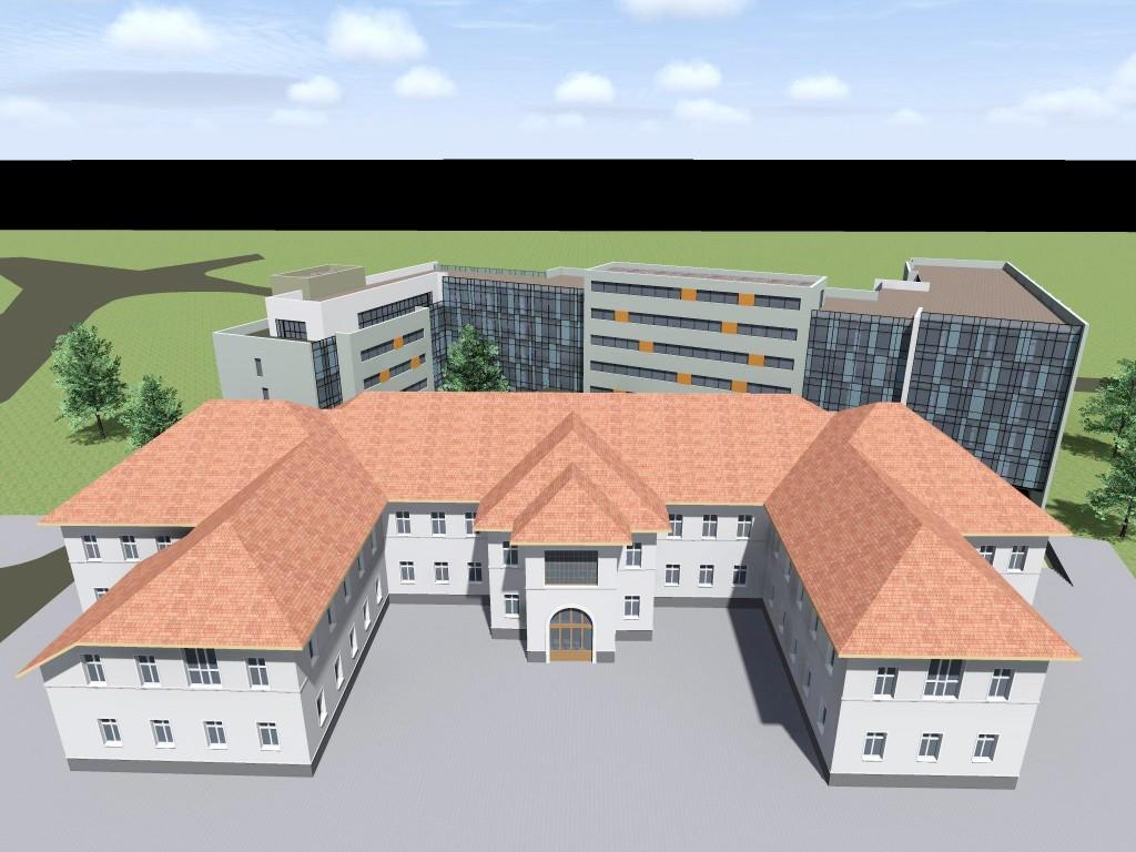 """Așa arată, în viziunea proiectantului, imobilul care ar urma să fie ridicat în spatele clădirii principale a Spitalului """"Filantropia"""", după ce restul clădirilor ar urma să fie demolate"""