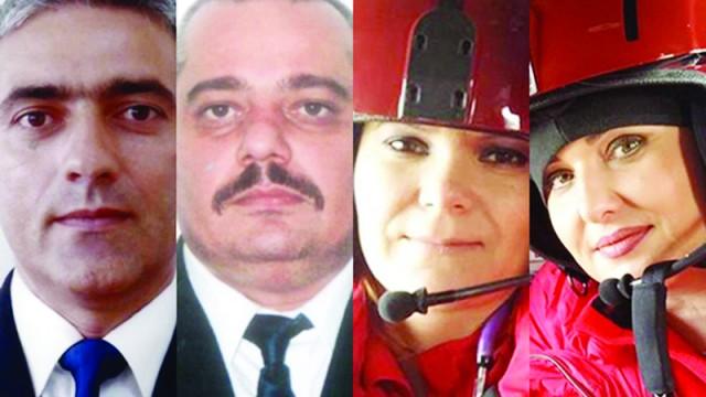De la stânga la dreapta, pilotul elicopterului, comandorul Petre Corneliu Cătuneanu, copilotul, căpitan comandor Ginel Claudiu Crăcănel, medicul Laura Vizireanu şi asistenta medicală, Gabriela Camelia Harton
