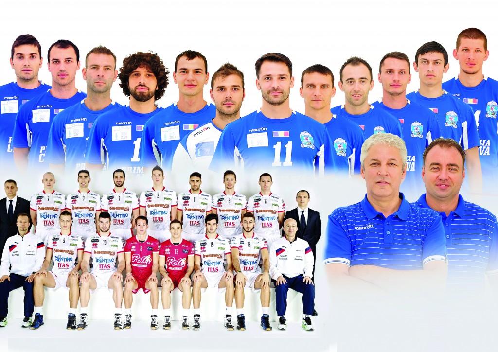 Jucătorii de la SCM-U Craiova (în albastru) şi Trentino (în alb) luptă pentru un loc în semifinalele Cupei CEV (Foto: Remus Badea)
