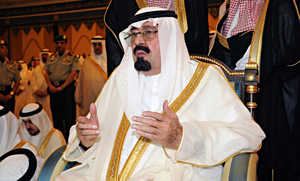 Saudi King Abdullah bin Abdulaziz Al Saud attends prayers on the first day of Eid al-Fitr at Al-Safa Palace in Mecca