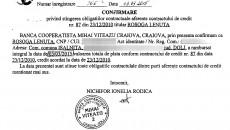 Documentul arată că Lenuța Roșoga și-a achitat obligațiile față de bancă. Instituția de credit mai are să îi restituie femeii garanția care i-a fost reținută, dar banca se folosește de banii acesteia timp de doi ani.