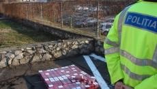 Polițiștii mehedințeni au confiscat miercuri peste 1.000 de pachete de țigări de contrabandă (Foto: IPJ Mehedinti)
