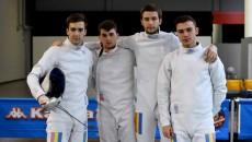 Alexandru Dabija (stânga), Tatian Bolboceanu, Ionuț Trandafirescu și Mario Perșu au obținut medalia de bronz în Italia (foto: FR Scrimă)