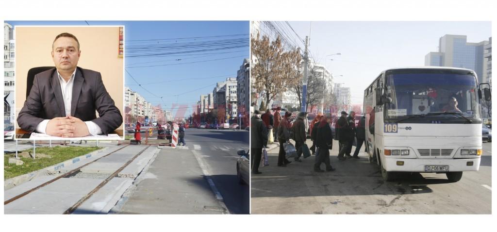 Directorul RAT Craiova, Marcel Tănăsescu (foto medalion), a explicat, în interviul acordat GdS, că stațiile de tramvai de pe Calea București vor fi mutate după intersecții pentru a nu mai crea contextul unor eventuale accidente din cauza obturării vizibilității. La fel se va întâmpla și cu stațiile de autobuz care sunt amplasate imediat după semafoare, pentru a nu mai exista blocaje în trafic. (Foto: GdS)
