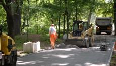 Aleile din Grădina Botanică vor fi asfaltate cu bitum roșu și vor fi primele de acest gen din Craiova. Momentan, muncitorii lucrează la stratul de uzură al aleilor. (foto Anca Ungurenuș)