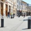Bolarzii retractabili din Centrul Istoric al Craiovei vor fi amplasați în șase puncte. Doi dintre aceștia se află pe strada Nicolaescu-Plopșor și câte unul pe străzile Olteț, Traian Demetrescu, Theodor Aman și Panait Moșoiu (ultima stradă, în imagine). (Foto: Lucian Anghel)