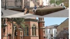 """În fotografia de sus este proiectul de modernizare a Piaţetei """"Sfântul Ilie"""" din Craiova,  declarat câştigător de arhitecţi renumiţi, dar neimplementat de primărie. În prezent, piaţeta arată ca în fotografia de jos, după propria concepţie a primăriei."""