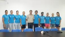 La conferinţa de presă au fost prezente cele şapte jucătoare nou-venite, antrenorii Simona Gogârlă şi Grigore Albici, dar şi directorul clubului, Marius Barcan
