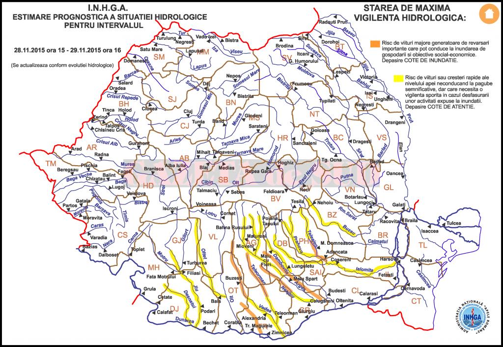 Hartă avertizare hidrologică (Sursa: INHGA)