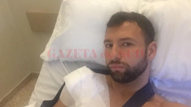 Răzvan Raț, pe patul de spital (foto: digisport.ro)