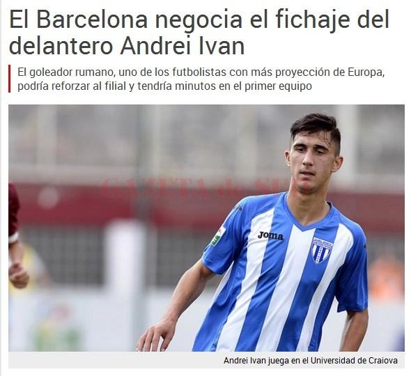 Publicația catalană scrie că Andrei Ivan este dorit de FC Barcelona