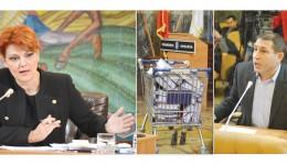 Pavel Badea a acuzat-o pe Olguţa Vasilescu de teatru ieftin în şedinţa de consiliu local după ce angajaţii din subordine i-au adus acesteia, într-un cărucior  tip hipermarket, documentaţia pentru reabilitarea mai multor licee din Craiova (FOTO: Valentin Tudor)