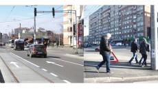 """O singură stradă, Calea Bucureşti, două anomalii: săgeată pentru direcţie înainte pe linia de tramvai şi indicator """"Atenţie trece trenul"""" în centrul Craiovei. Ultimul a fost îndepărtat de primărie (Foto: GdS)"""
