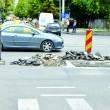 Calea București, recent recepționată, a fost spartă zilele trecute la intersecția cu strada Horia din cauza unei avarii. Groapa a fost astupată miercuri. (Foto: Marian Apipie)