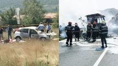 Două persoane și-au pierdut viața, iar două tiruri au ars în întregime în urma accidentului produs ieri pe DN 6