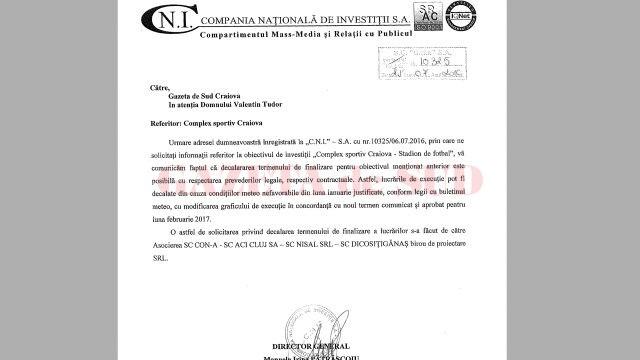 "Răspuns CNI decalare termen finalizare Stadion ""Oblemenco"""