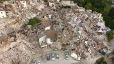 A drone photo shows the damages following an earthquake in Pescara del Tronto, central Italy, August 25, 2016. REUTERS/Stefano De Nicolo