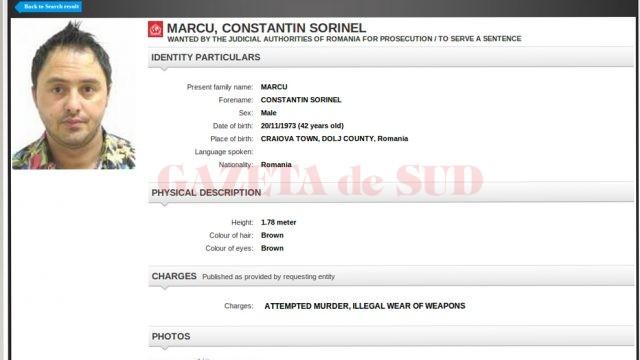 Sorinel Constantin Marcu a fost dat în urmărire internațională în baza mandatului de executare a pedepsei de opt ani și trei luni de închisoare (FOTO: interpol.int)