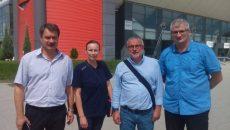 Oficialii CEV și FRV au inspectat Sala Polivalentă din Bănie, însoțiți de conducătorii clubului SCM Craiova (foto: SCM Craiova)