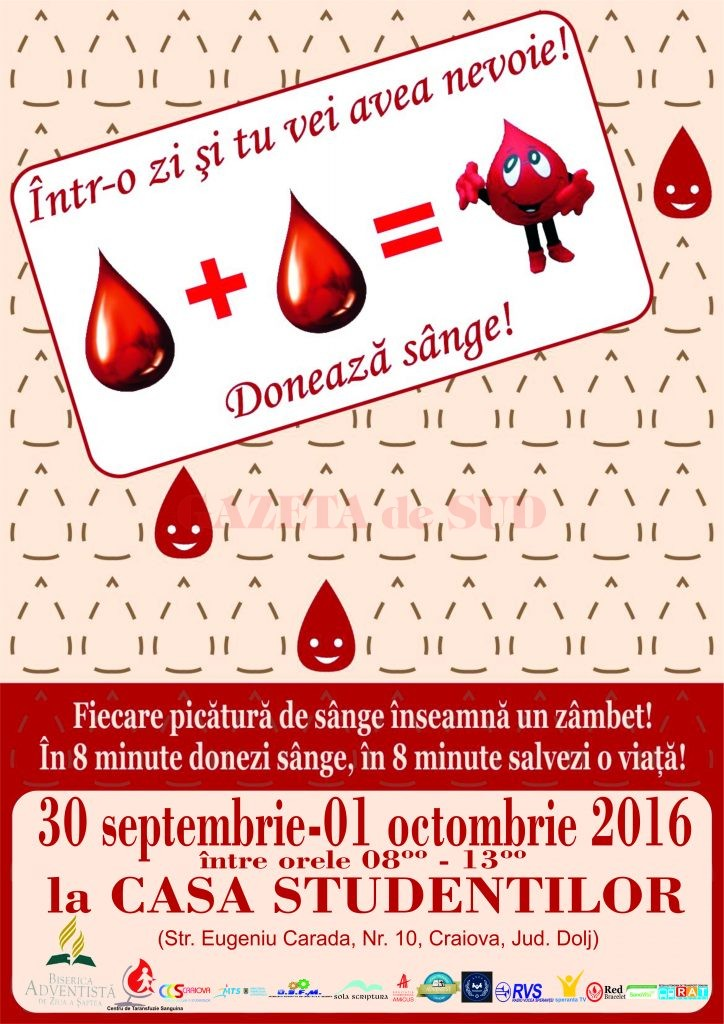 Afis Donare de sange _Craiova - 2016
