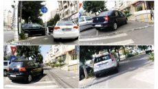 Fotografiile făcute de un cititor al GdS arată că șoferii parchează, de obicei, pe pistele pentru bicicliști amenajate pe Calea Bucureşti (Foto: Un cititor GdS)