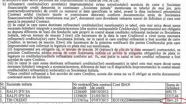 Constantin Popescu susține că deși creditorul trebuia să îi rețină diferența de credit de 3.524 de lei, i s-au reținut 3.841 de lei, fără să i se comunice de ce