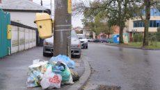Gunoiul strâns selectiv zace la colț de stradă (Foto: Lucian Anghel)