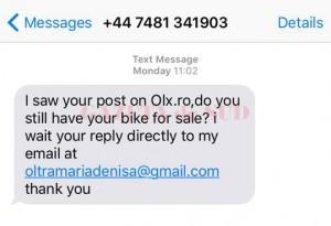 Falşii cumpărători pot trimite iniţial mesaje, apoi discuţia trebuie să continue pe e-mail