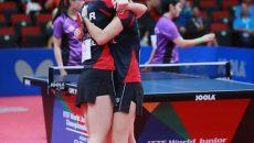 Adina Diaconu și Andreea Dragoman sunt noile campioane mondiale la juniori (foto: Federația Române de Tenis de Masă)