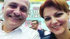 Dragnea şi Vasilescu şi-au făcut un selfie la Centrul Multifuncţional din Craiova, unde a avut loc conferinţa din iulie 2015 în care a fost aleasă conducerea PSD Dolj (Foto: pagina de facebook a Liei Olguţa Vasilescu)