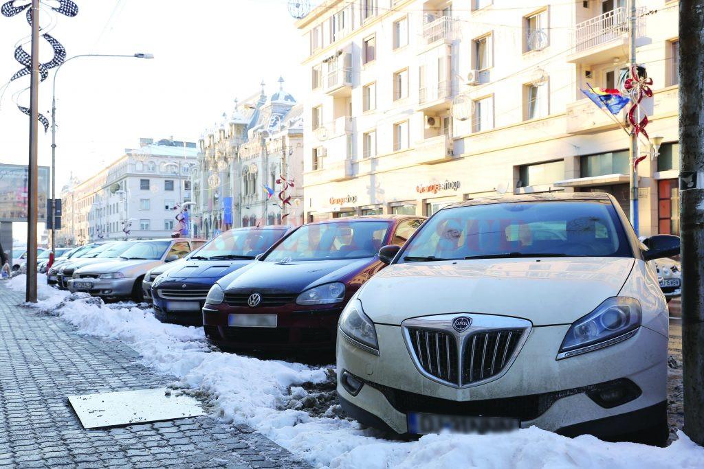 Cele mai multe locuri de parcare cu plata prin SMS, 94, se vor amenaja pe strada A.I. Cuza, până la intersecția cu Arieș (Foto: Bogdan Grosu)