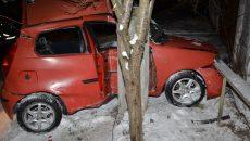 Șoferul autoturismului Fiat a fost rănit grav după ce a lovit un stâlp de pe marginea șoselei.