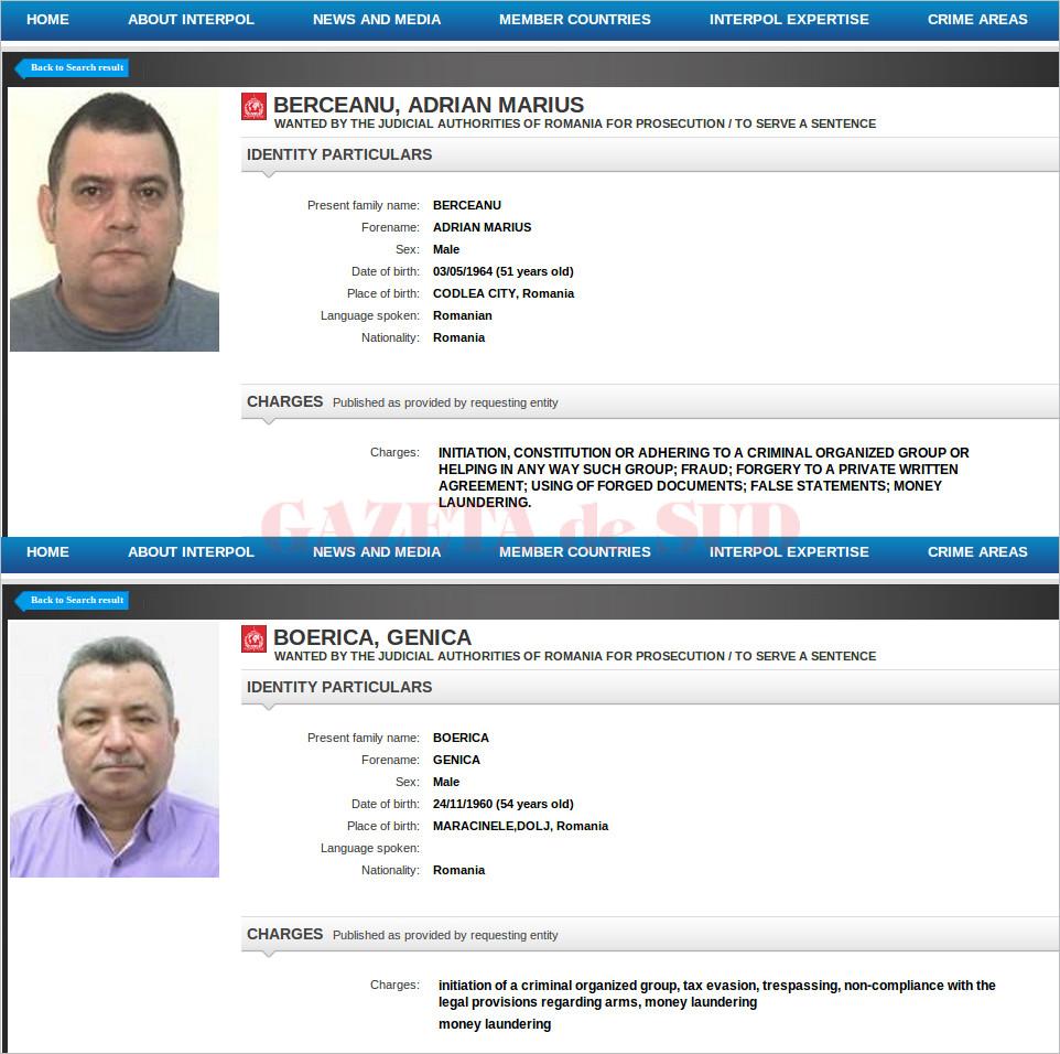 Dați în urmărire internațională încă din 2014, oamenii de afaceri Genică Boerică și Adrian Marius Berceanu nu mai figurează pe lista infractorilor căutaţi prin Interpol