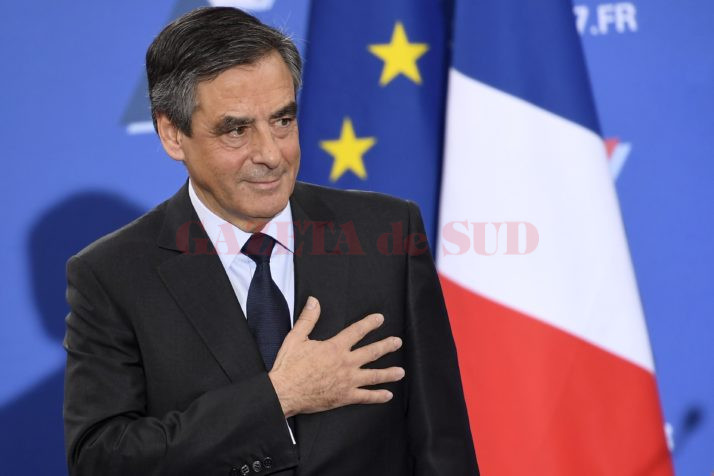 French member of Parliament and candidate for the right-wing primaries ahead of France's 2017 presidential elections, Francois Fillon gestures as he delivers a speech following the first results of the primary's second round on November 27, 2016, at his campaign headquarters in Paris. France's conservatives held final run-off round of a primary battle on November 27 to determine who will be the right wing nominee for next year's presidential election. / AFP / Eric FEFERBERG        (Photo credit should read ERIC FEFERBERG/AFP/Getty Images)