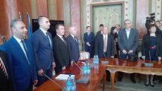 Prefectul Ciprian Florescu (primul din stânga) a depus jurământul