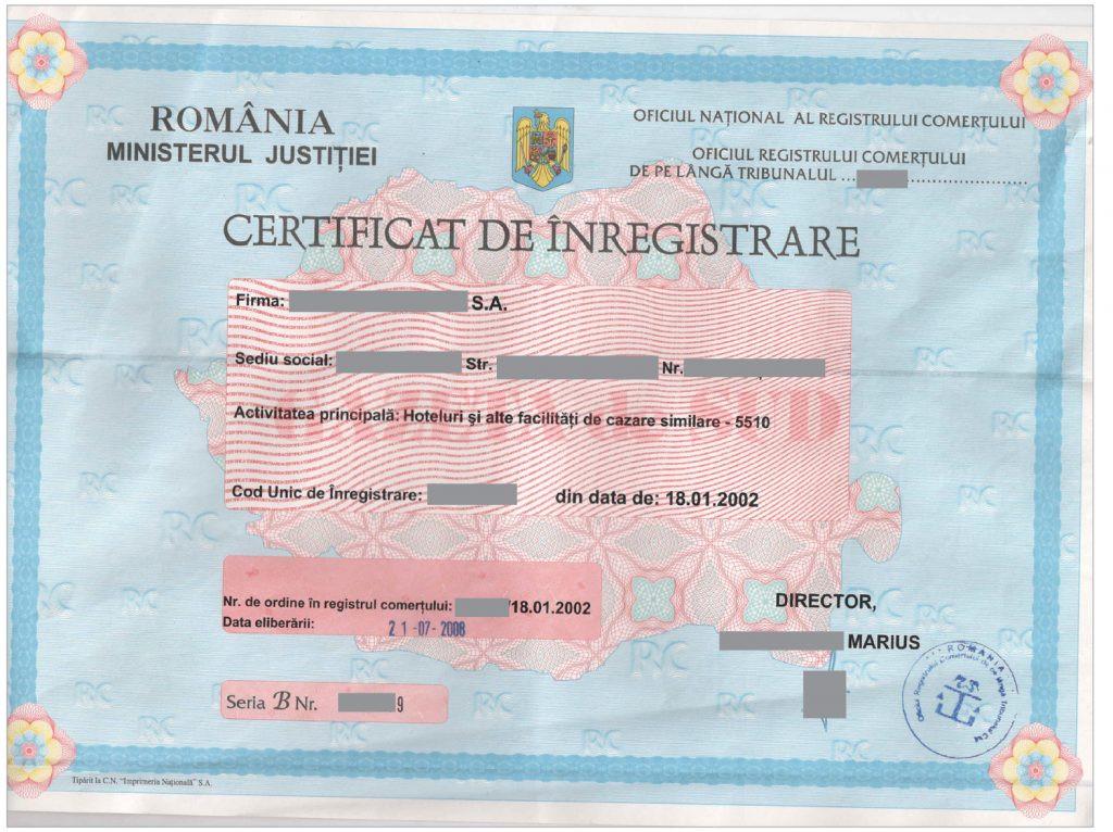 Noul certificat de înregistrare a firmelor va cuprinde, de luna viitoare, încă un cod de identificare, care trebuie să fie unic, la nivel european