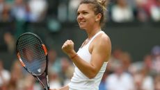 LONDON, ENGLAND - JULY 02:  Simona Halep of Romania celebrates victory during the Ladies Singles third round match against Kiki Bertens of The Netherlands on day six of the Wimbledon Lawn Tennis Championships at the All England Lawn Tennis and Croquet Club on July 2, 2016 in London, England.  (Photo by Julian Finney/Getty Images)
