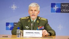 Chairman of the Military Committee, General Petr Pavel during the joint press point with Supreme Allied Commander Europe, General Philip M. Breedlove and Supreme Allied Commander Transformation, General Denis Mercier following the 174th Military Committee in Chiefs of Defence Session