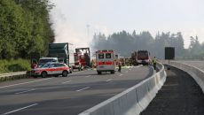 Ambulance cars and fire engines near a bus after thirty-one people were injured, some of them seriously, when a coach burst into flames after colliding with a lorry on a motorway near Muenchberg, Germany, July 3, 2017.    REUTERS/News 5.   THIS IMAGE HAS BEEN SUPPLIED BY A THIRD PARTY.  GERMANY OUT. NO COMMERCIAL OR EDITORIAL SALES IN GERMANY. NO SALES NO ARCHIVES. - RTS19JA8