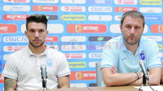 Alexandru Băluță (stânga) și antrenorul Devis Mangia au prefațat meciul cu Viitorul (Foto: Lucian Anghel)